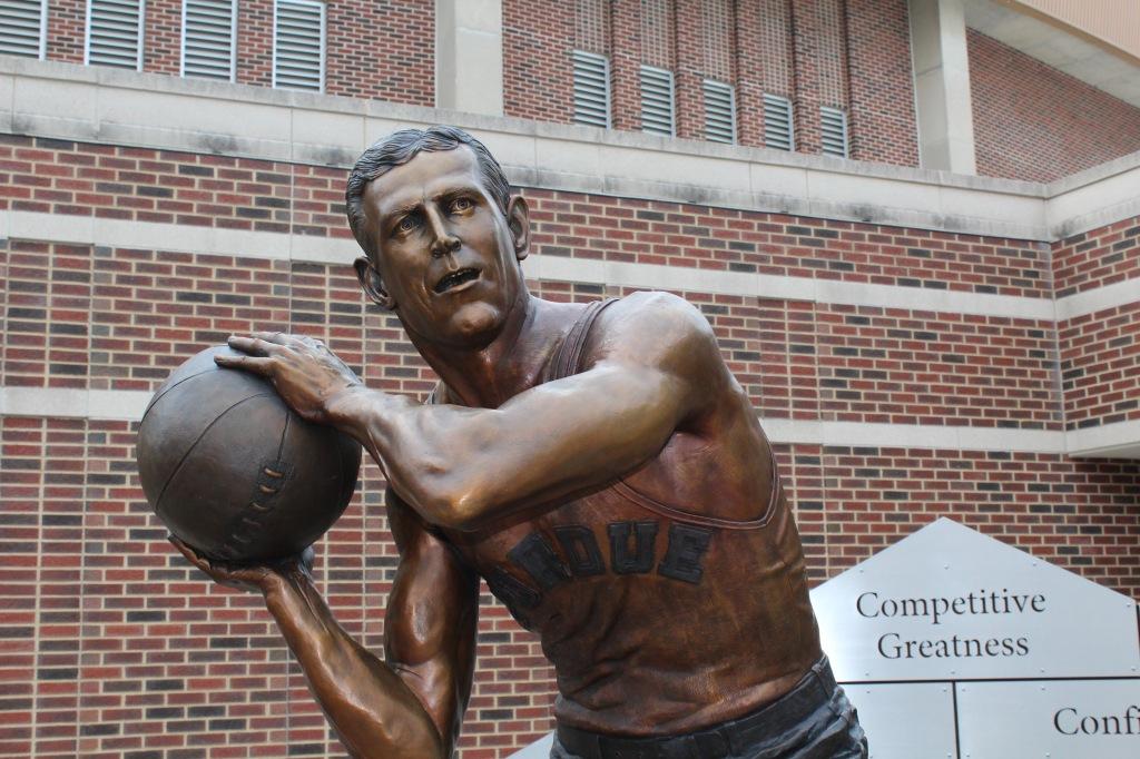 Bronze close up of John Wooden sculpture by artist Julie Rotblatt-Amrany for Purdue University