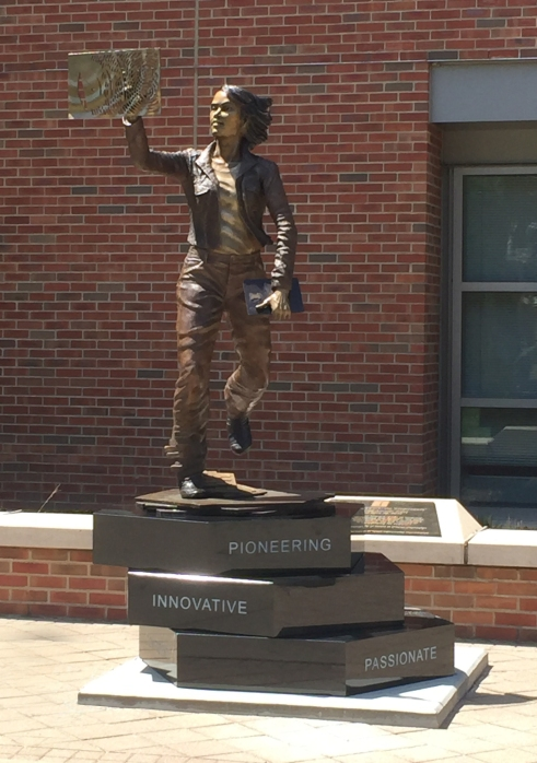 The Quintessential Engineer, a bronze sculpture for The University of Illinois in the Engineering Quad by artist Julie Rotblatt-Amrany