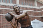 Bronze close-up of John Wooden sculpture by artist Julie Rotblatt-Amrany for Purdue University