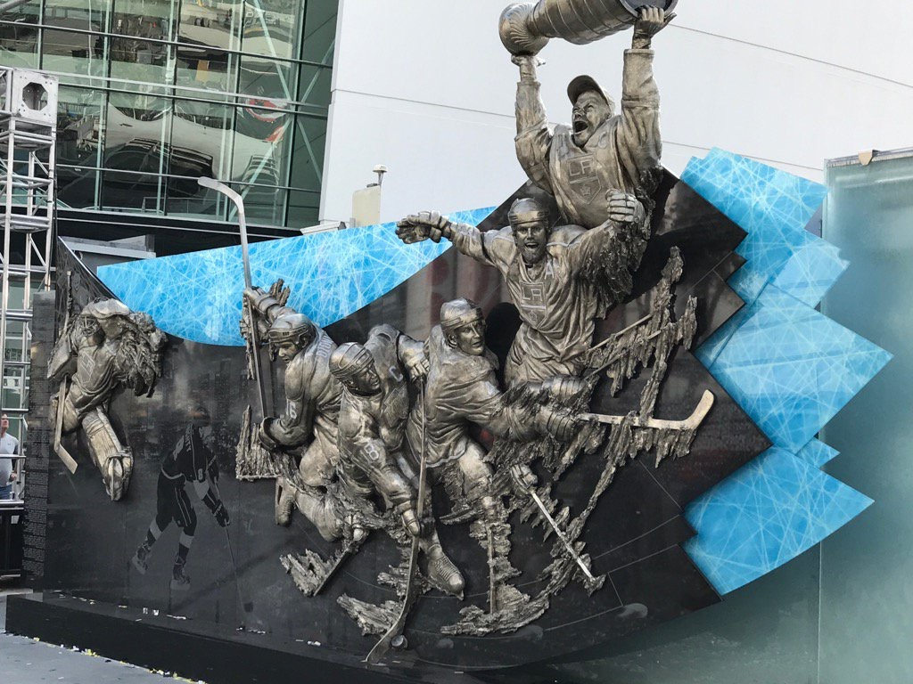 Bronze, glass, and granite sculpture for LA Kings 50th Anniversary by artist