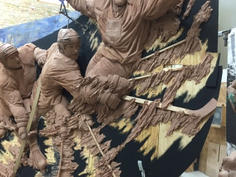 Clay sculpture in progress by artist Julie Rotblatt-Amrany featuring LA Kings players for 50th Anniversary Monument at Staples Center