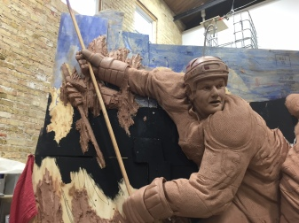 Clay sculpture in progress for LA Kings 50th Anniversary Memorial at Staples Center by artist Julie Rotblatt-Amrany