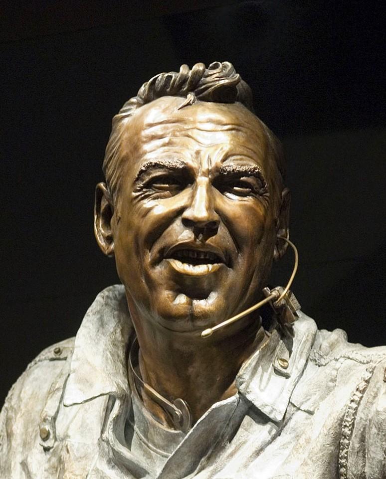 Bronze sculpture closeup of Captain James A. Lovell Jr. for the Adler Planetarium in Chicago by artist Julie Rotblatt-Amrany