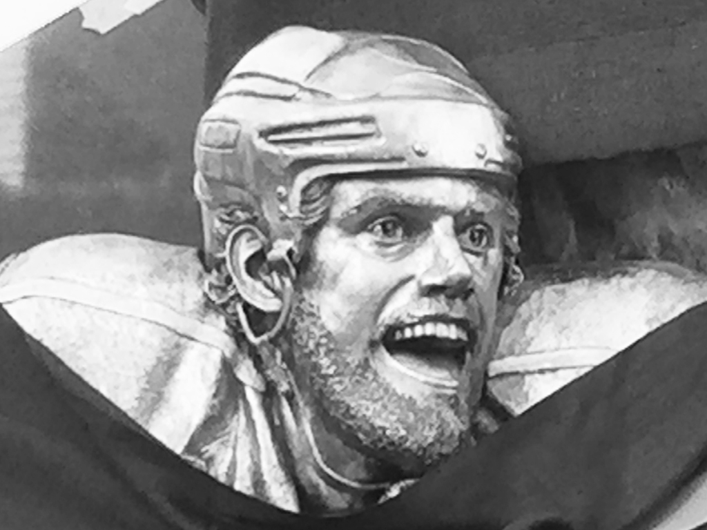 Bronze sculpture of Anze Kopitar by Julie Rotblatt-Amrany for LA Kings 50th Anniversary Monument at Staples Center