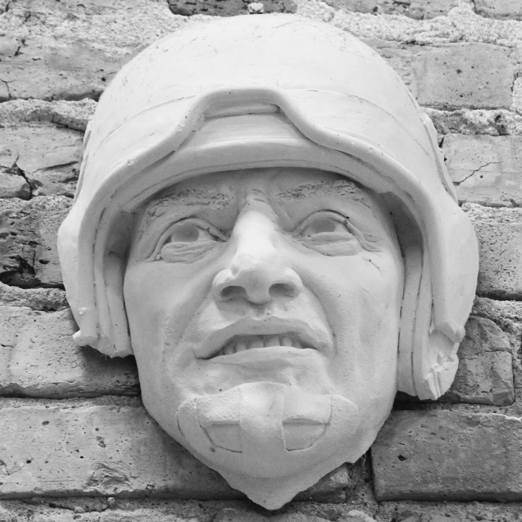 Plaster sculpture of Bill George by artist Julie Rotblatt-Amrany for the Chicago Bears