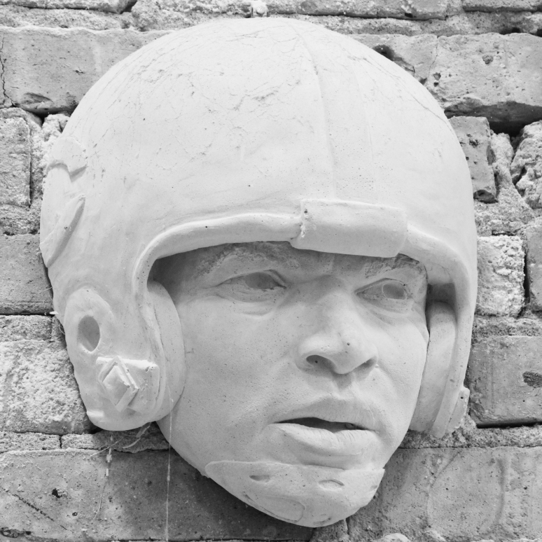 Plaster sculpture of Gale Sayers by Julie Rotblatt-Amrany for Chicago Bears