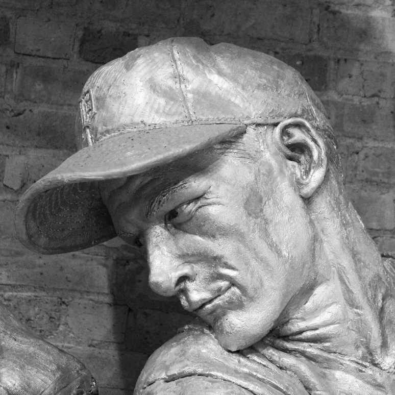 Bronze sculpture of Hal Newhouser by Julie Rotblatt-Amrany for the Detroit Tigers