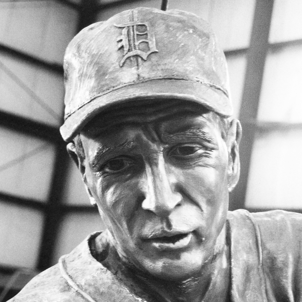 Bronze sculpture of Hank Greenberg by Julie Rotblatt-Amrany for the Detroit Tigers