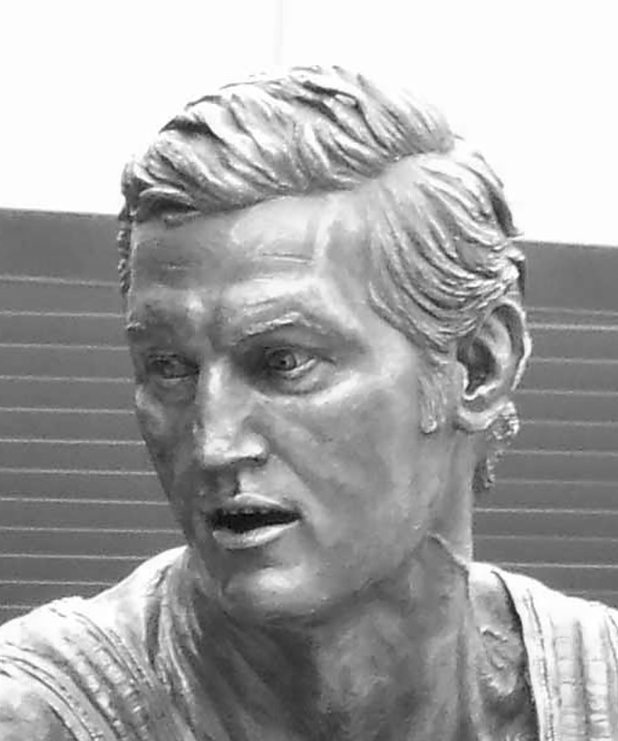 Bronze sculpture of Jerry West by Julie Rotblatt-Amrany for LA Lakers, Staples Center