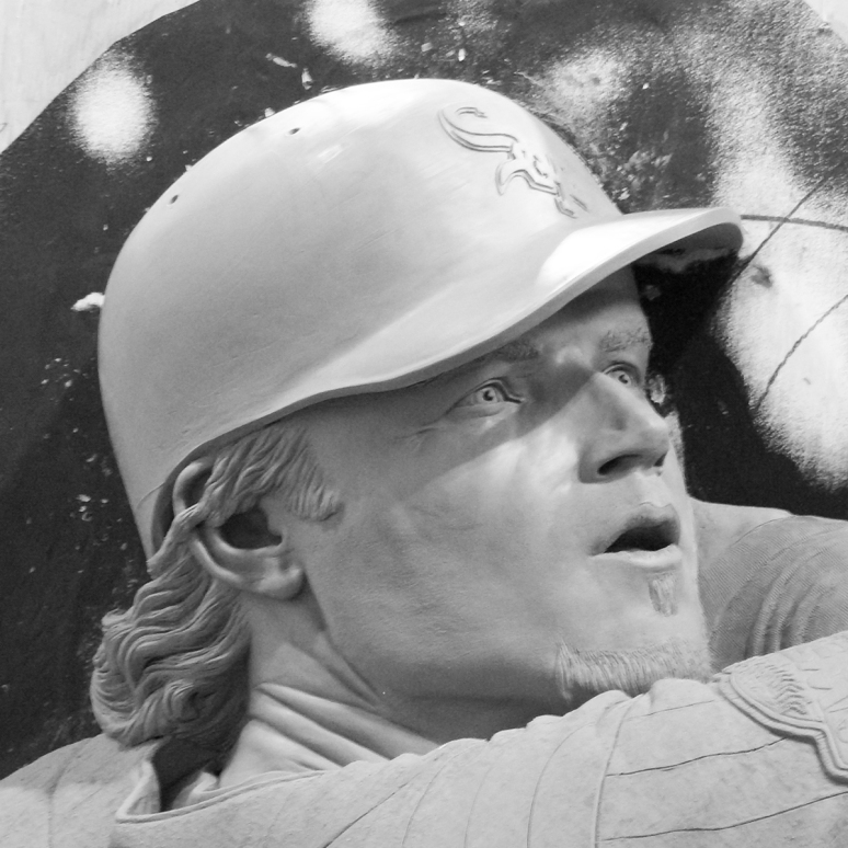 Bronze sculpture of Joe Crede by Julie Rotblatt-Amrany for the Chicago White Sox