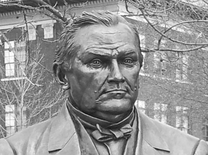 Bronze memorial sculpture commission of John Purdue by Julie Rotblatt-Amrany for Purdue University