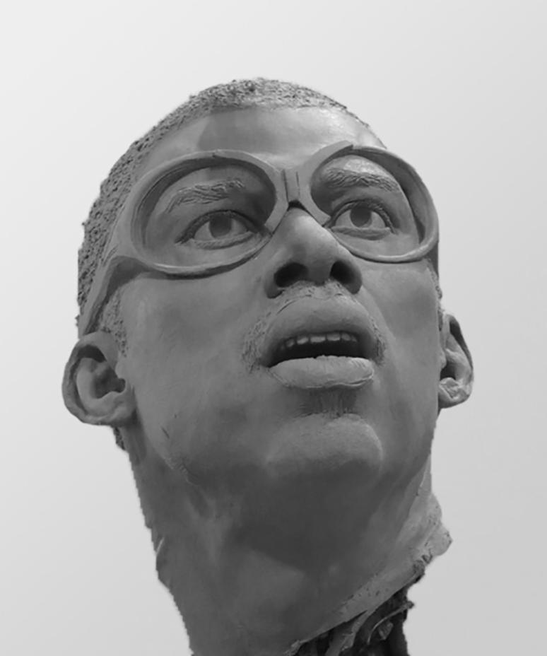 Clay bust sculpture of Kareem Abdul-Jabbar by Julie Rotblatt-Amrany for LA Lakers, Staples Center