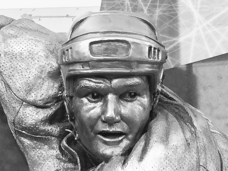 Bronze sculpture of Marcel Dionne by Julie Rotblatt-Amrany for LA Kings 50th Anniversary Monument at Staples Center