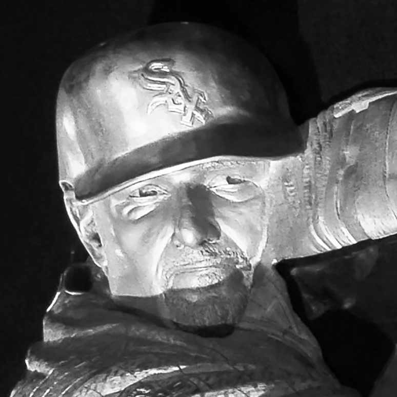 Bronze sculpture of Paul Konerko by Julie Rotblatt-Amrany for Chicago White Sox