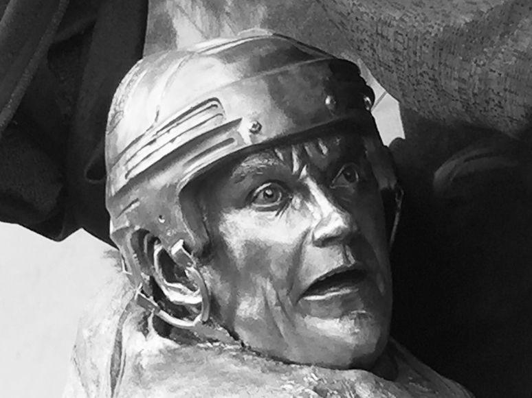 Sculpture in bronze of Rob Blake by Julie Rotblatt-Amrany for LA Kings 50th Anniversary Monument at Staples Center