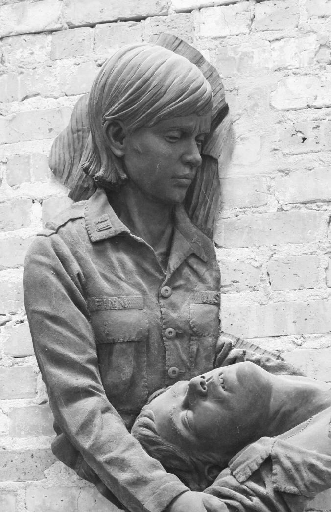 Vietnam memorial bronze sculpture by Julie Rotblatt-Amrany at Community Veterans Memorial Park in Munster Indiana
