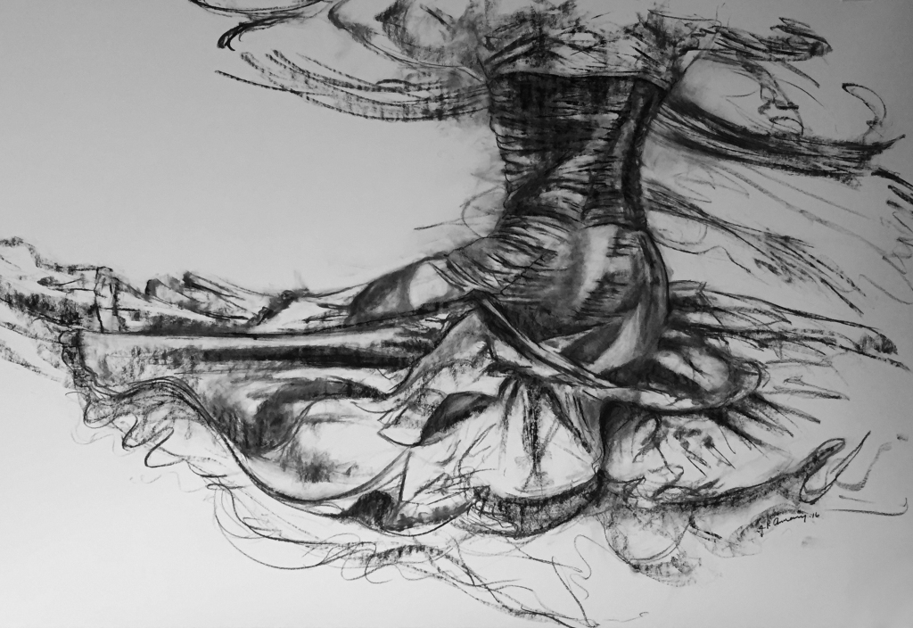Figurative charcoal drawing by artist Julie Rotblatt-Amrany, Spinning Force